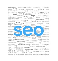 Seo word with keywords background vector