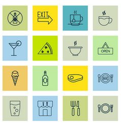 Set of 16 food icons includes steak tea hot vector