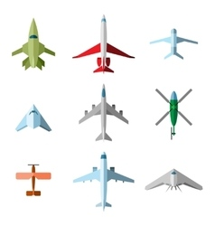 Set of flat airplane vector image vector image