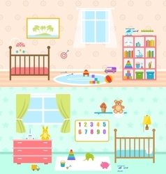 Set playrooms for kids baby rooms interior vector