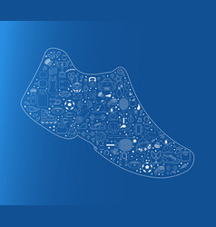 Sneakers made of doodles sport icons sport shoes vector