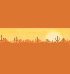 western desert landscape at sunset vector image