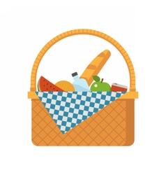 Wicker picnic basket vector