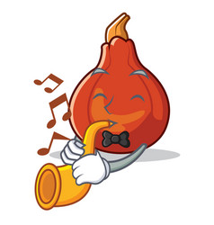 With trumpet red kuri squash mascot cartoon vector