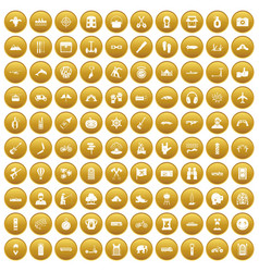 100 adventure icons set gold vector