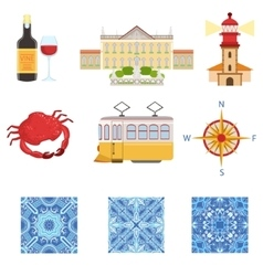 Collection of portuguese national symbols objects vector