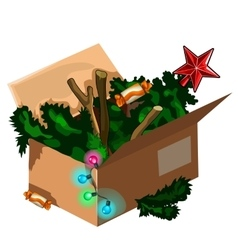 Christmas tree kept in box after holiday vector