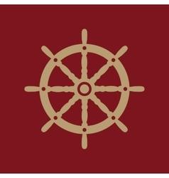 The ship steering wheel icon sailing symbol flat vector