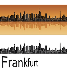 Frankfurt skyline in orange background vector