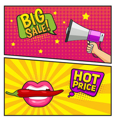 Big sale comic style banners vector