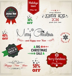vintage chritmas labels vector image