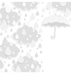 Rainy season background with raindrops and clouds vector