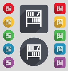 Bookshelf icon sign a set of 12 colored buttons vector