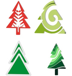 Icons four christmas trees vector