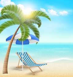 Beach with palm clouds sun umbrella and beach vector