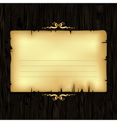Paper with wood and ornate frame vector
