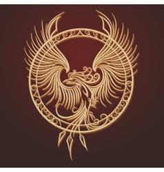 Phoenix Emblem in Circle vector image
