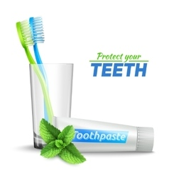 Toothbrushes in glass and toothpaste vector