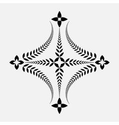 Laurel wreath tattoo icon cross sign on white vector