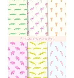 African seamless patterns set vector