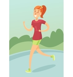Young girl running outdoors flat style vector