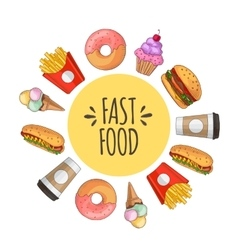 Fast food set of cartoon icons vector