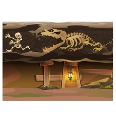 Underground with human and animal skeleton vector