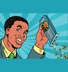 African american businessman is mining bitcoins vector