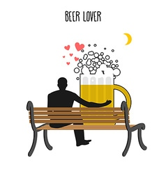 Beer lover Beer mug and watch people on moon Date vector image vector image