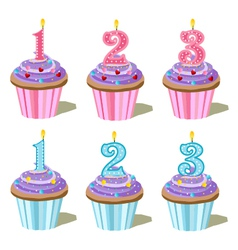 birthday cakes with candles vector image vector image