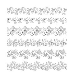 Black seamless floral border collection vector