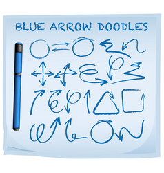 Blue arrow doodles on blue paper vector