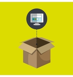 Box carton screen pc laptop vector