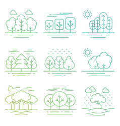 bright nature forest landscape thin line icons vector image vector image