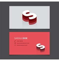 business card letter S vector image vector image