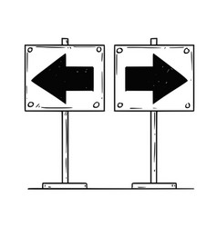 Cartoon of two left and right arrows vector