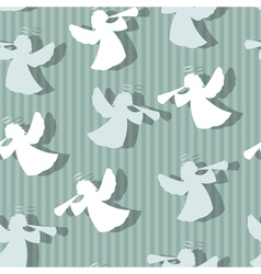 Christmas angels silhouette seamless pattern vector image