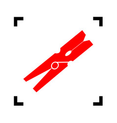 Clothes peg sign red icon inside black vector