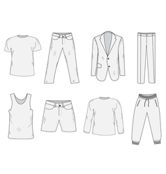 Clothing set sketch mens clothes hand-drawing vector