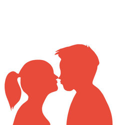 Couple Kissing pair of lovers vector image
