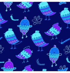 Cute colorful floral seamless pattern with owl and vector image