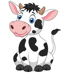 Cute cow cartoon sitting vector
