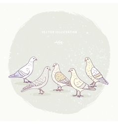 cute pigeons set vector image