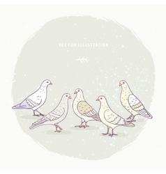 cute pigeons set vector image vector image