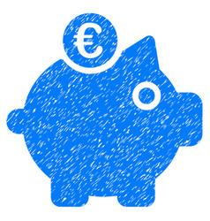 euro piggy bank icon grunge watermark vector image vector image