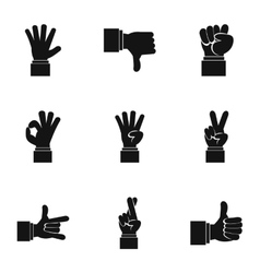 Gestural icons set simple style vector