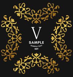 golden luxurious logo frame golden on black vector image vector image