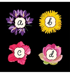 Hand drawn flower alphabet flower font vector image