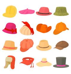 Hat types icons set headdress cartoon style vector