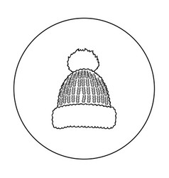 knit cap icon in outline style isolated on white vector image